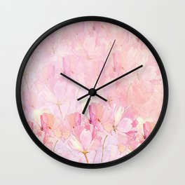 Pink Lily Watercolor Garden Wall Clock