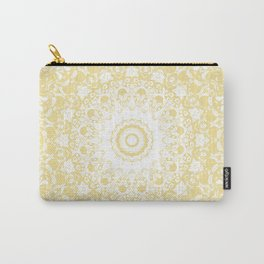White Lace Mandala on Sunshine Yellow Background Carry-All Pouch