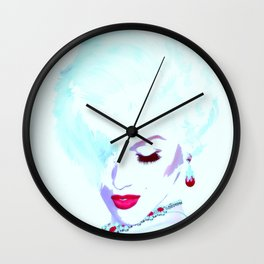 Fatal White. A Vintage Blonde Bombshell in Pop Art Style Wall Clock