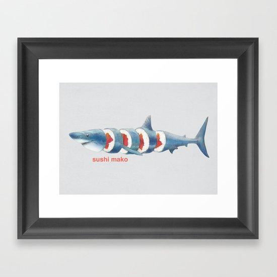 Sushi Mako (color option) Framed Art Print