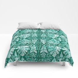 JUNGLE IKAT Green Tropical Monstera Comforters