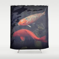koi fish Shower Curtains featuring Koi Fish by KunstFabrik_StaticMovement Manu Jobst