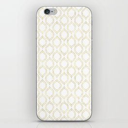 White And Gold Moroccan Chic Pattern iPhone Skin