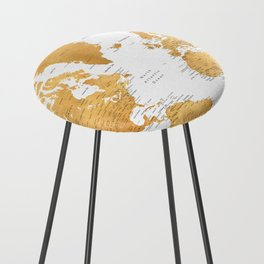 For God so loved the world, world map in gold Counter Stool