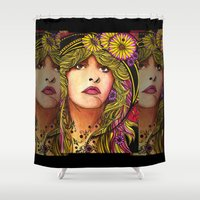 stevie nicks Shower Curtains featuring Daisy by Lynette K.