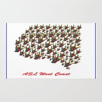 west coast Area & Throw Rugs featuring ASL - I LOVE YOU West Coast by EloiseArt