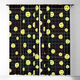 Colorful Smiley Emoji 4 - black Blackout Curtain