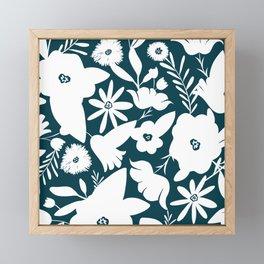 Finley Floral Dark Teal Framed Mini Art Print