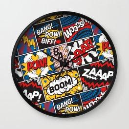 Modern Comic Book Superhero Pattern Color Colour Cartoon Lichtenstein Pop Art Wall Clock