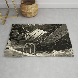 Sinking into the Pool Black and White Rug