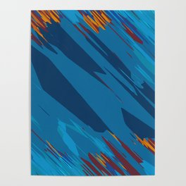 psychedelic geometric abstract background in blue yellow brown Poster