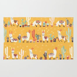 Happy llama with cactus in a pot Rug