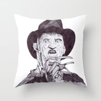 freddy krueger Throw Pillows featuring krueger by DeMoose_Art