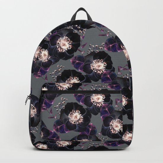 Night Rose Black + Gray Purple Backpack