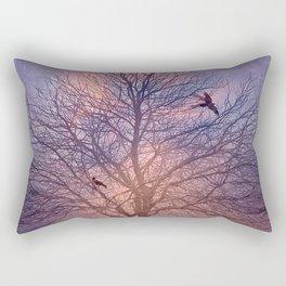 Winter's Tree At Dawn - Dark Crows Series Rectangular Pillow