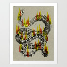 rattlesnake on fire! Art Print