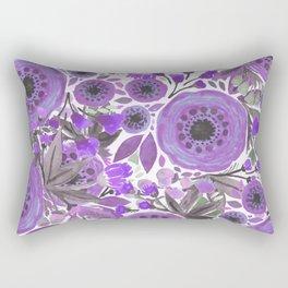 Water Color Flowers Purple Rectangular Pillow