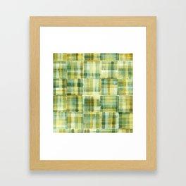 Green Watercolour Check Framed Art Print