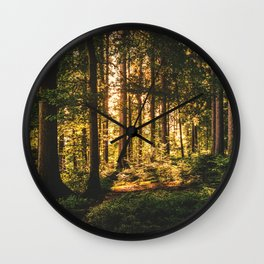 Woods  - Forest, green trees outdoors photography Wall Clock