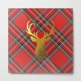 Gold Stag Head On Red Tartan Metal Print