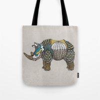 rhino Tote Bags featuring Rhino by farah allegue