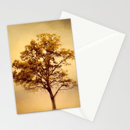 Amber Gold Cotton Field Tree Stationery Cards