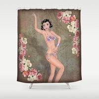 burlesque Shower Curtains featuring Burlesque pin-up by metroymedio