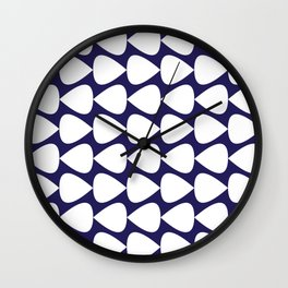 Plectrum Pattern in White on Delft Navy Blue Wall Clock