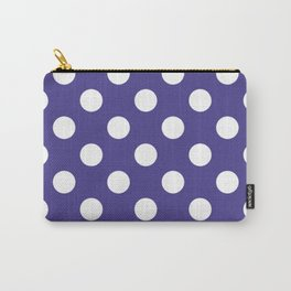 Dark slate blue - violet - White Polka Dots - Pois Pattern Carry-All Pouch