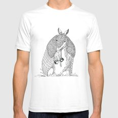 hipster 'dillo Mens Fitted Tee SMALL White