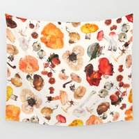 mushrooms Wall Tapestries featuring Mushrooms by juli puli