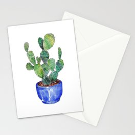 Cactus in blue pottery Stationery Cards