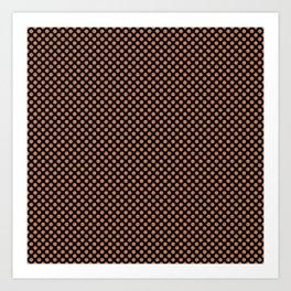 Black and Caramel Polka Dots Art Print