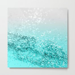 Silver Gray Aqua Teal Ocean Glitter #1 #shiny #decor #art #society6 Metal Print