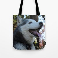 husky Tote Bags featuring Husky. by Saremotion