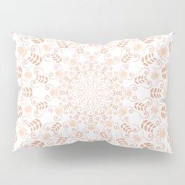 Rosey peach spring floral mandala Pillow Sham