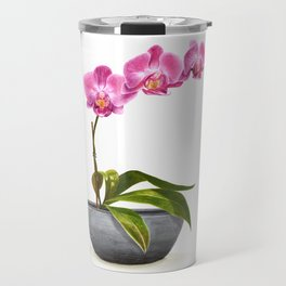 Watercolor Orchid Travel Mug