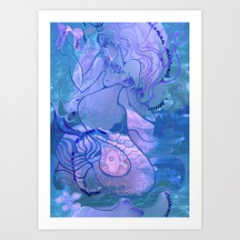 Mermaid's games Art Print