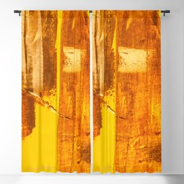 Abstract orange yellow hand painted canvas fragment, abstract art painting on grunge wall with brushstrokes Blackout Curtain