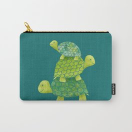 Turtle Stack Family in Teal and Lime Green Carry-All Pouch