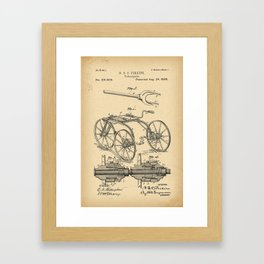 1880 Patent Velocipede Bicycle history innovation Framed Art Print
