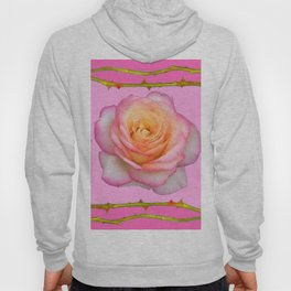 ROSE & RAMBLING THORNY CANES PINK BORDER PATTERNS Hoody