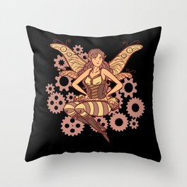 Steampunk fairy colorful and cool female steampunk Throw Pillow