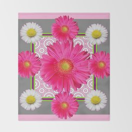 Fuchsia Gerbera & Shasta Daisy  Pink-Grey Pattern Art Throw Blanket