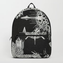 Black and white Marine creatures illustration by Ernst Haeckel Backpack