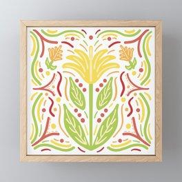 Yellow Flower Firecracker Dots Framed Mini Art Print
