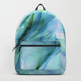 Aqua Turquoise Teal Abstract Ink Painting Backpack