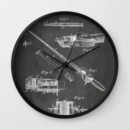 Fishing Rod Patent - Fishing Art - Black Chalkboard Wall Clock