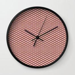 Purple Fishnet Texture on Pale Skin Wall Clock