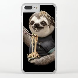 SLOTH EATING NOODLE Clear iPhone Case